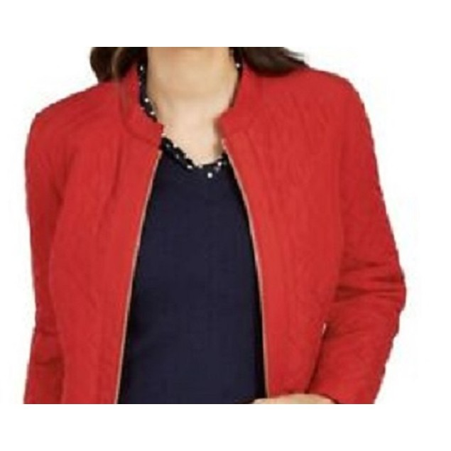 Charter Club Women's Quilted Jacket Mediun Red Size Petite Small