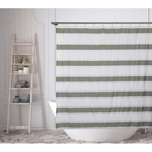 Namia Metallic Striped Cotton Shower Curtain