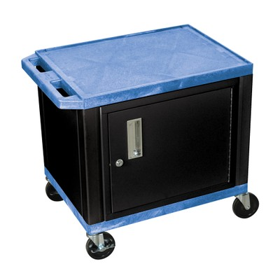 """Luxor 26"""" Two Flat Shelves AV Cart with Cabinet - Black Legs, Blue"""