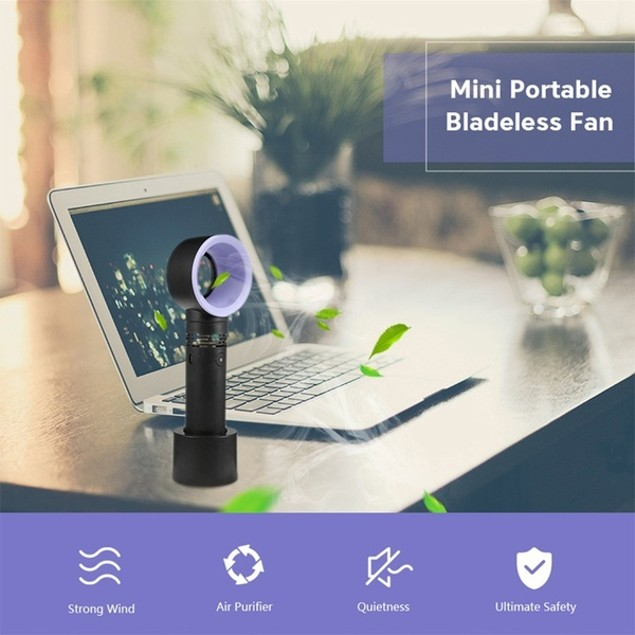 Handheld Kid Friendly Blade-Less Mini Fan 2000mAh - Black
