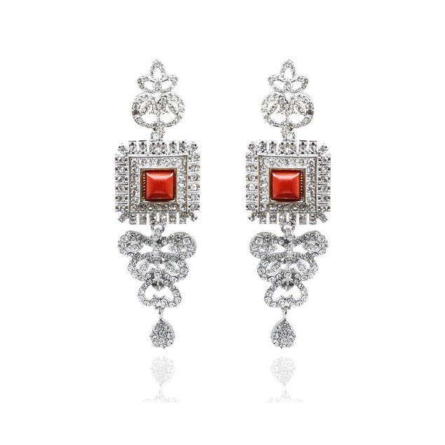 Novadab Ruby Red Square Women Earrings, Earrings for Women Girls