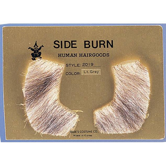 Light Grey Sideburns 100% Human Hair Pork Chop Side Burns Victorian