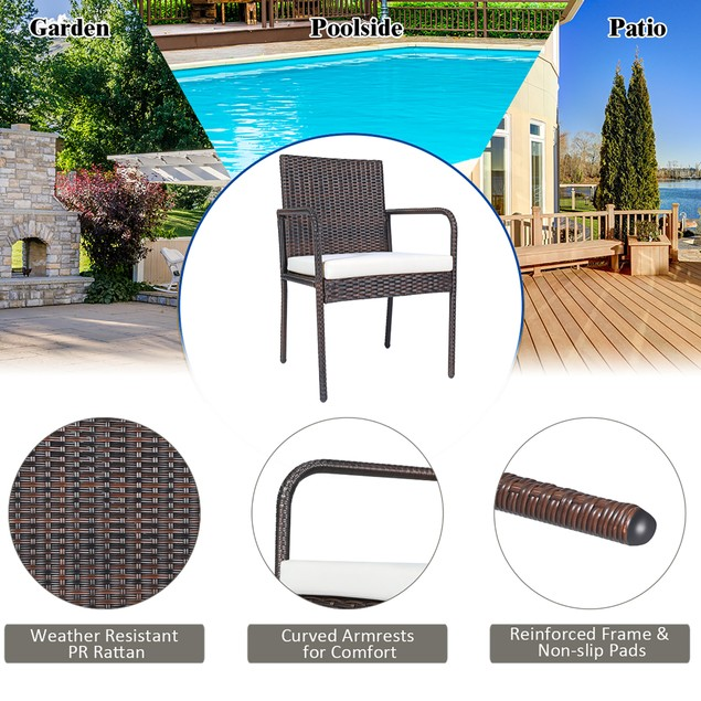 Costway 4 PCS Outdoor Patio Rattan Dining Chairs Cushioned Sofa with Armres