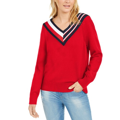 Tommy Hilfiger Women's Striped V-Neck Sweater Red Size X-Small