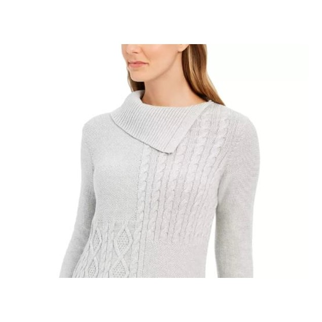 Charter Club Women's Asymmetrical Collar Sweater Med Grey Size Small