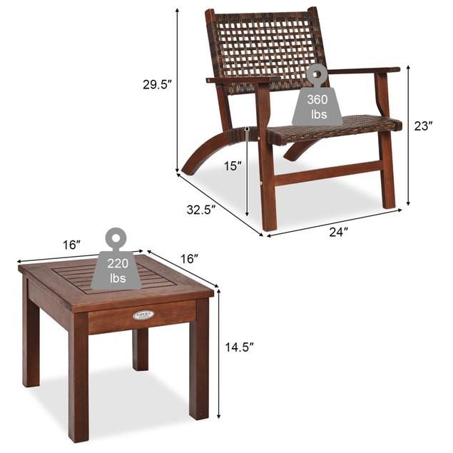 Costway 3PCS  Patio Rattan Furniture Set  Coffee Table