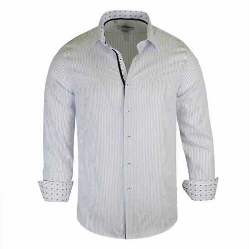 Monza Modern Fit Long Sleeve Striped Blue Dress Shirt