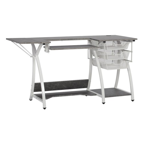 Offex Sewing, Hobby, Computer Table with Folding Side Shelf and Wire Baskets - White, Concrete