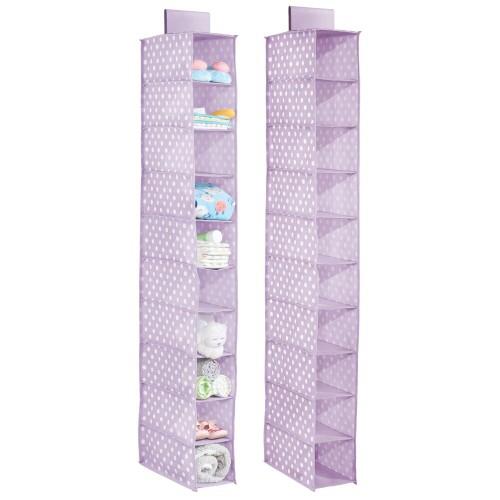 mDesign Kids Fabric Over Closet Rod Hanging Storage, 10 Shelf