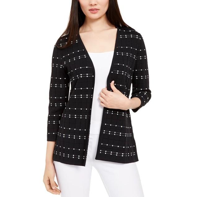 Alfani Women's Open-Front Textured Cardigan Black Size Small