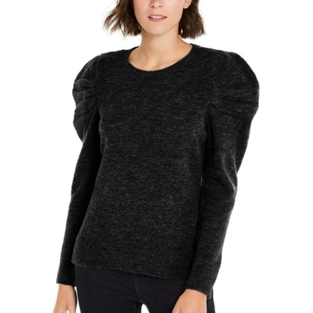 INC International Concepts Women's Puff-Sleeve Sweater Black Size Large