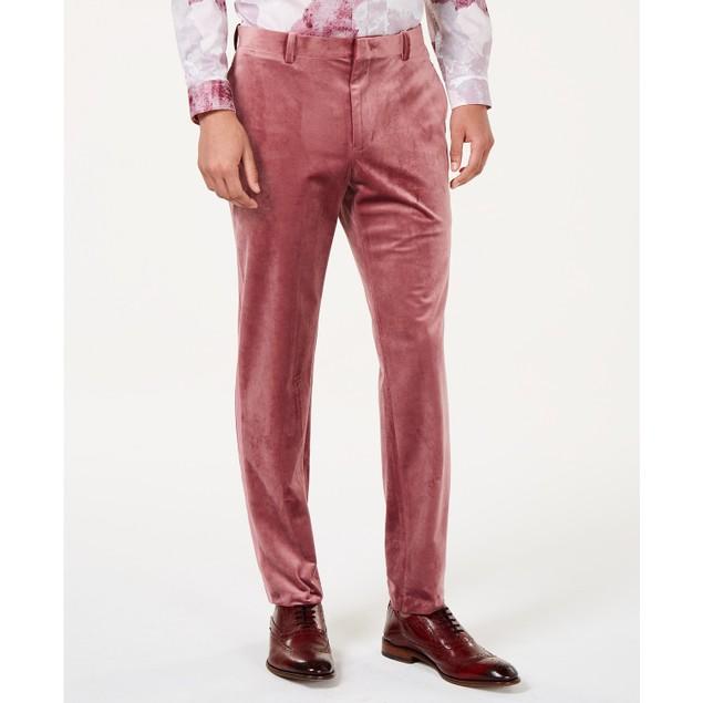 INC International Concepts Men's Slim-Fit Velvet Pants Pink Size 38X30