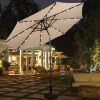 10ft Patio LED Solar Umbrella Tilt w/ Crank