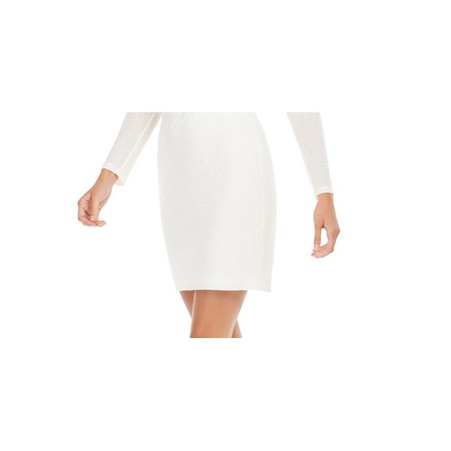Vince Camuto Women's Sequined Sheath Dress White Size 14