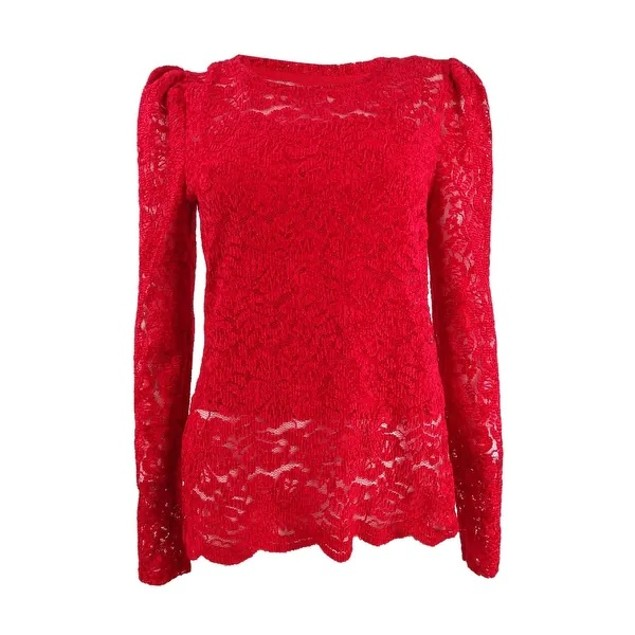 INC International Concepts Women's Lace Top Mediun Red Size Small