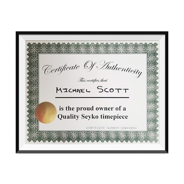 Michael Scott Quality Seyko Timepiece Certificate Of Authenticity 8.5 x 11