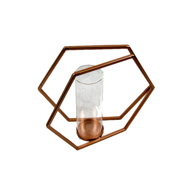 Spura Home Double Hexagonal Iron Candle Holder Copper Brown