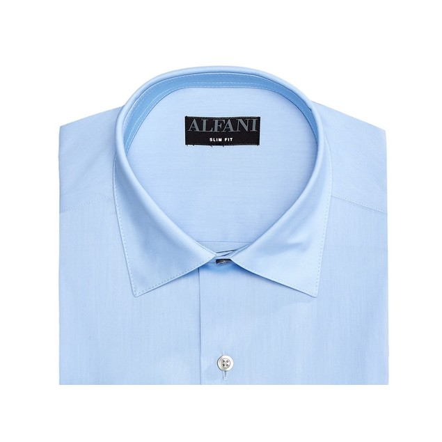 Alfani Men's Solid Athletic Fit Dress Shirt Blue Size 14-32-33