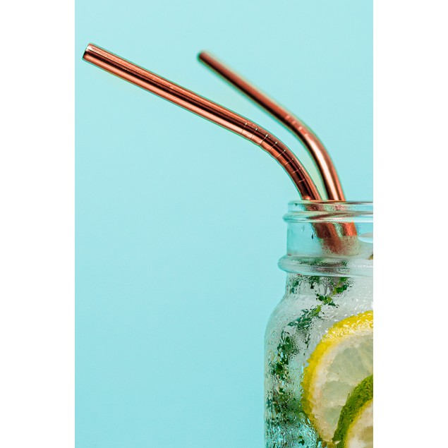12-Pack Reusable Stainless Steel Straw in Rose Gold w/ Cleaning Brush