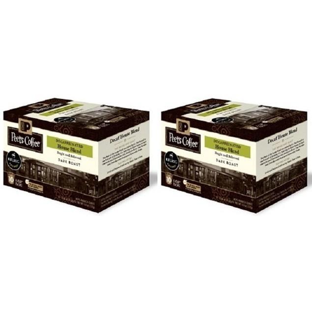 Peet's Coffee House Blend Decaffeinated Coffee Keurig K-Cups 2 Box Pack