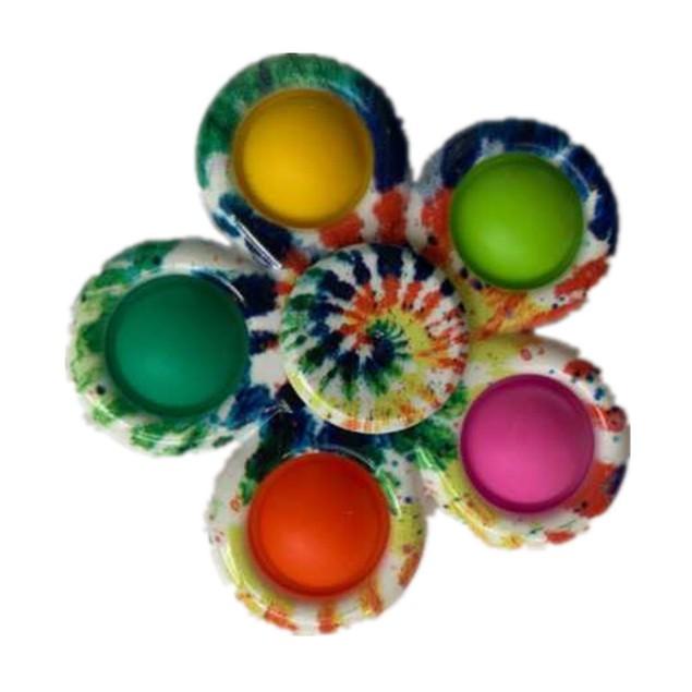 3 Pack: Tie-Dye Popper Fidget Spinner Toy