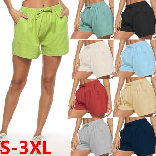 Women's Plus Size Cotton And Linen Pocket Shorts