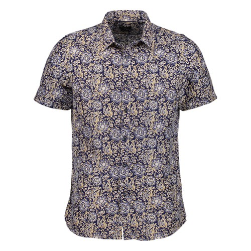 Rosso Milano Modern Fit Short Sleeve Navy Paisley Floral Dress Shirt