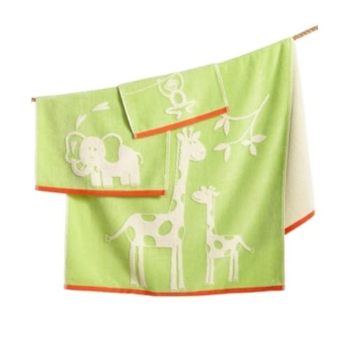 "Cassadecor 100 Percent Cotton Velour Zoo Hand Towel, 16"" x 26"", Green"