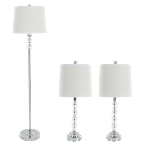 3 Piece Lamp Set Faceted Crystal by Lavish Home