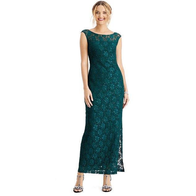 Connected Women's Sequined Lace Slit Gown Dark Green Size 8