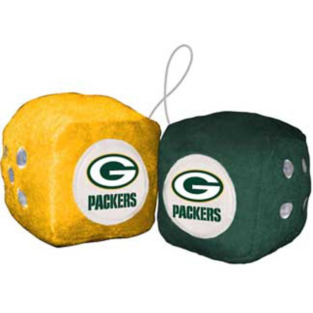 Green Bay Packers Fuzzy Dice NFL Football Team Logo Plush Car Truck Auto