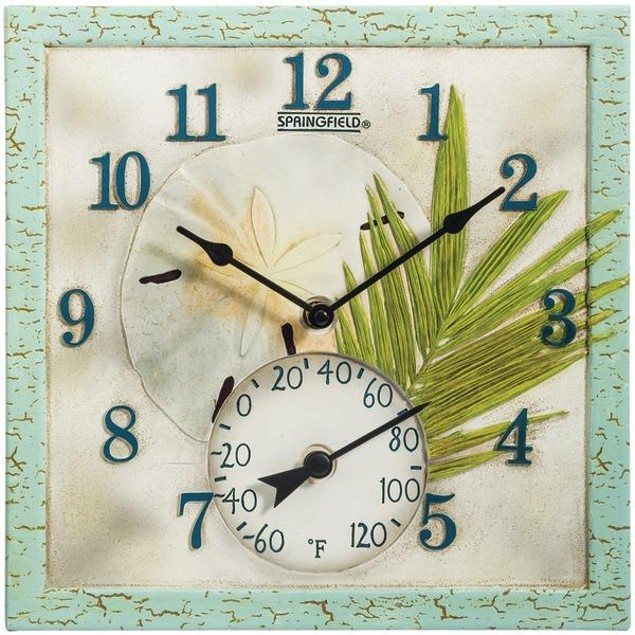 """Springfield(r) Precision 92320 12"""" Poly Resin Clock With Thermometer (sand"""