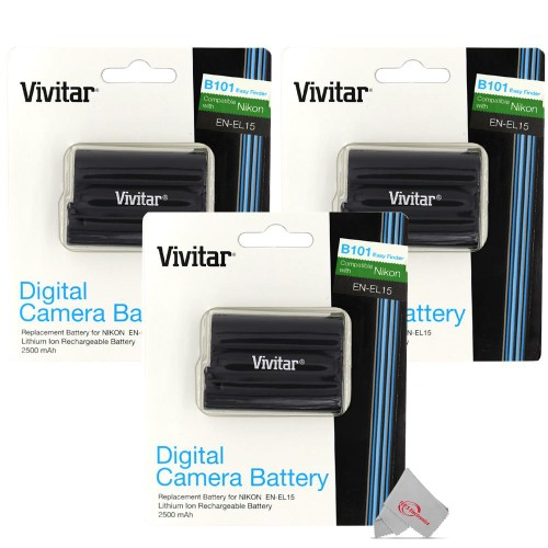 Three Pcs Vivitar Nikon EN-EL15 Replacement Battery for Nikon Z5 Z6 Z7 D500 D750 Camera