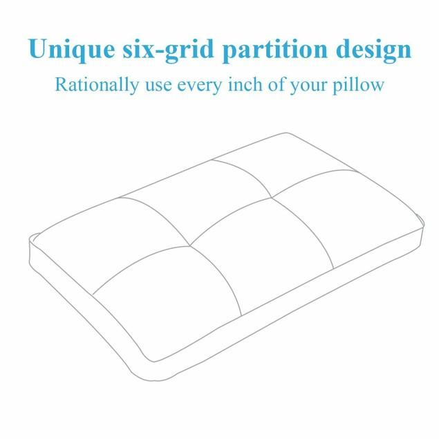 VECELO Six-Grid Partition Design Ergonomic Support Queen Size Pillow