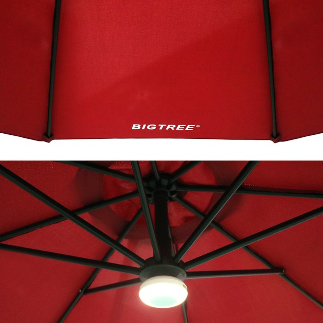 BIGTREE 10 FT Cantilever Patio Umbrella With Bluetooth Speaker Light