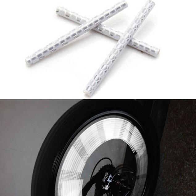 12pcs Bicycle Wheel Spoke Reflector Reflective Strip Clip Tube