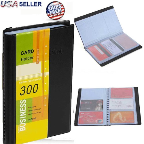 Leather Business Cards Holder Organizer 300 Name ID Credit Card Book Keeper