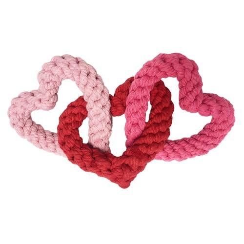 Midlee Interlocking Heart Rope Valentine Dog Toy