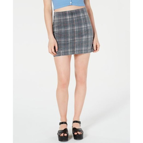 Tinseltown Juniors' Printed-Denim Mini Skirt Black Size 11