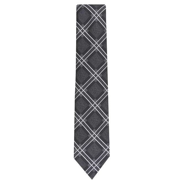 Perry Ellis Men's Denner Classic Plaid Tie Black Size Regular