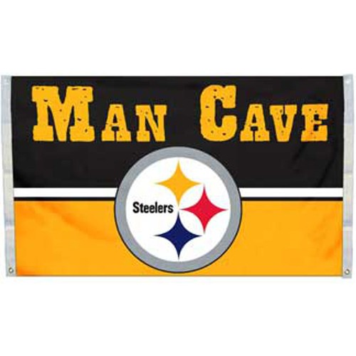 Pittsburgh Steelers Man Cave Flag 3' x 5' Banner 4 Grommets NFL