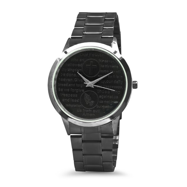 Gunmetal Watch With Our Father English Prayer