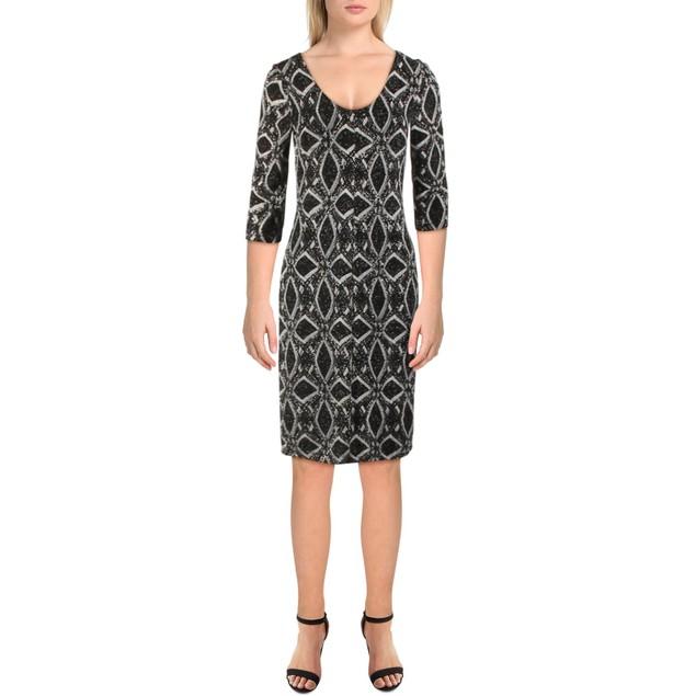 SLNY Women's Knit Meallic Short Sequin Sheath Cocktail Dress, 16, Black