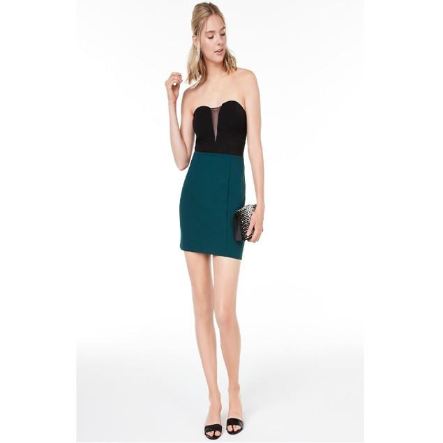 Speechless Juniors' Strapless Colorblocked Dress Green Size 0