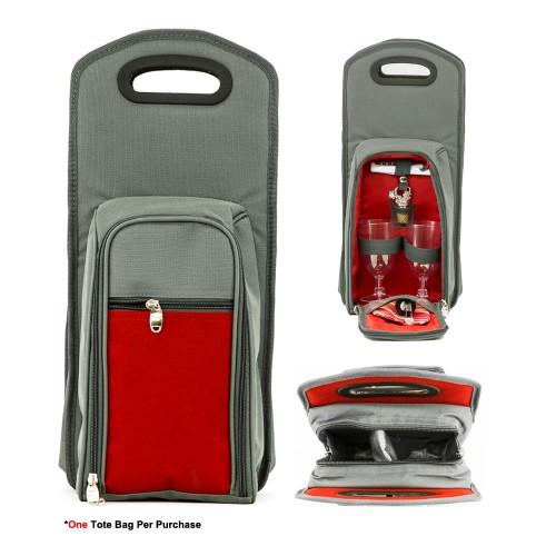7 Pcs Wine Carrier Tote Bag - Insulated Wine Bottle Holder Picnic Set Grey