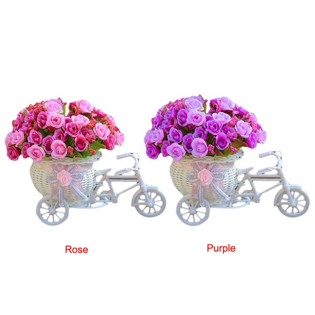Home Decoration Bicycle Basket Weaving Rose Flowers Simulation Set