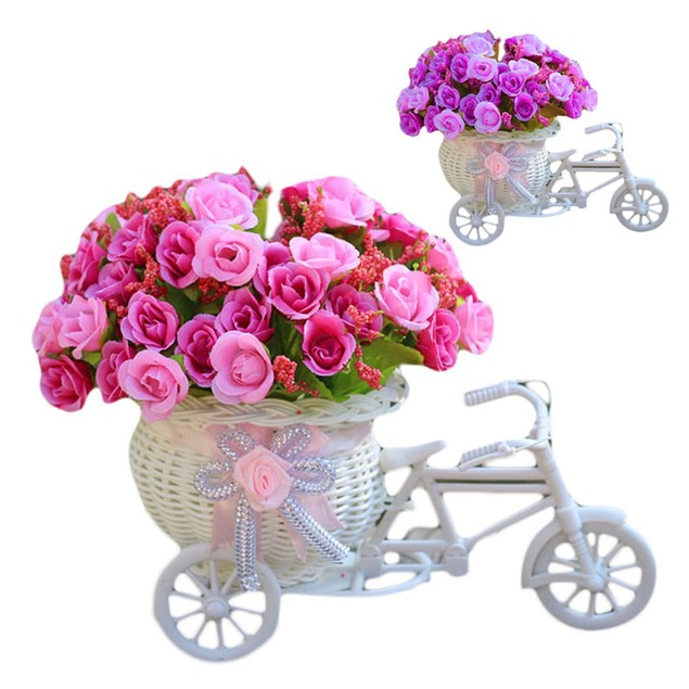 Home Decoration Bicycle Basket Weaving Rose Flowers Simulation Set