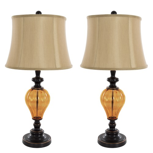 2 Piece Table Lamps Amber Glass by Lavish Home