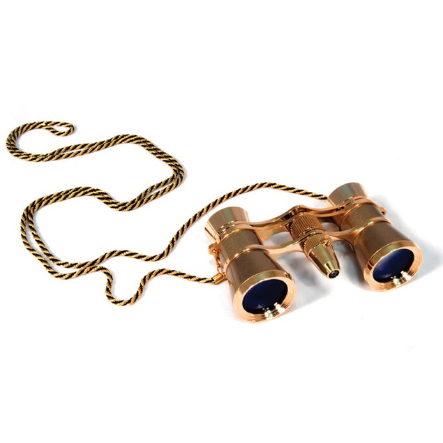 Levenhuk Broadway 325F Opera Glasses with LED Light And Chain - Gold
