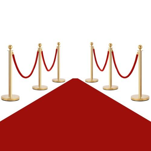Costway 6Pcs Stanchion Posts Queue Pole Retractable 4 Velvet Ropes Crowd Co
